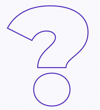 interrogação de linha roxa